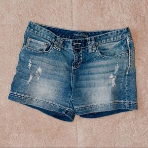 Maurice's Blue Distressed Jean Shorts